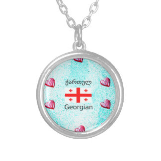 Georgian Language And Flag Design Silver Plated Necklace