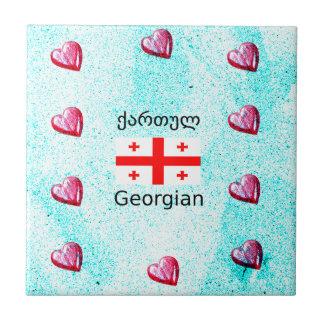 Georgian Language And Flag Design Tile