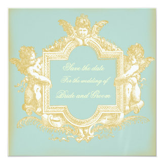 "Georgiana (Marie Antoinette Blue) Save the Date 5.25"" Square Invitation Card"