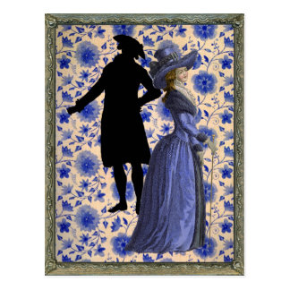 Georgoan Lady with a stick - Blue Postcard