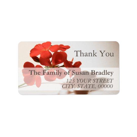 Geranium Thank You Family Address Label