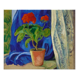 Geranium with Curtain by August Macke Print