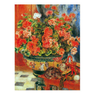 Geraniums and cats by Pierre Renoir Postcard