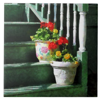 Geraniums and Pansies on Steps Tile