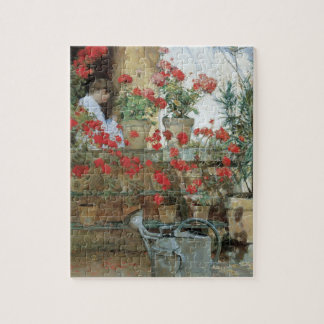 Geraniums by Childe Hassam, Vintage Impressionism Jigsaw Puzzle