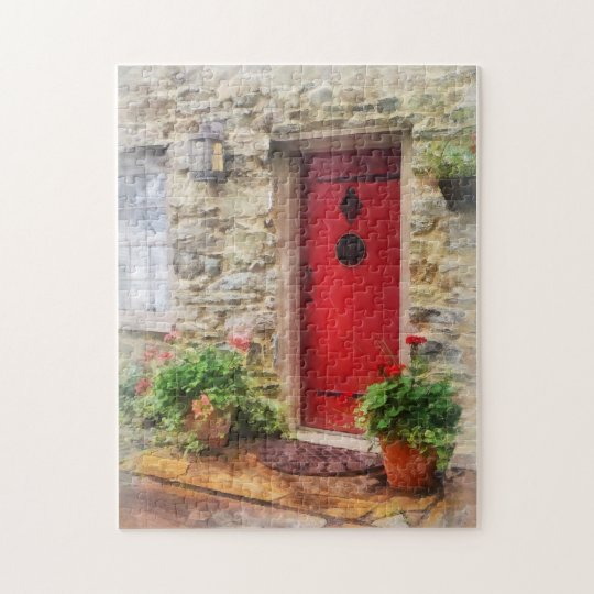 Geraniums by Red Door Jigsaw Puzzle