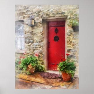 Geraniums by Red Door Poster