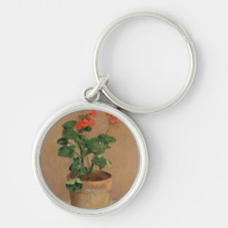 Geraniums in a Pot, c.1905 (oil on canvas) Silver-Colored Round Keychain
