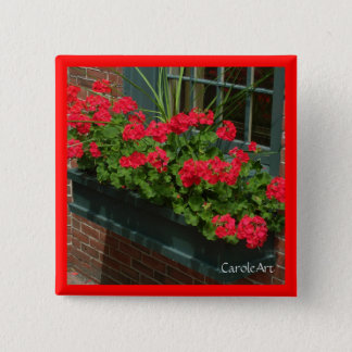 Geraniums Red Green Window Box 2 Inch Square Button
