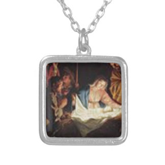 Gerard_van_Honthorst_Birth Of Christ Silver Plated Necklace