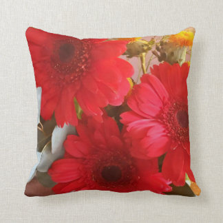 Gerber and Thistle Throw Pillow