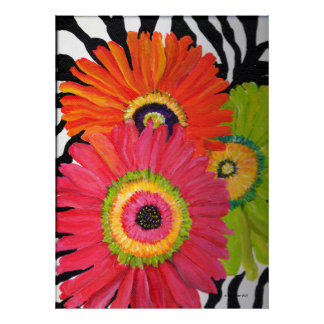 Gerber Daisies on Zebra Background Poster