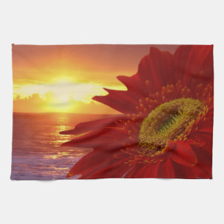 Gerber Daisy and sunset Kitchen Towel