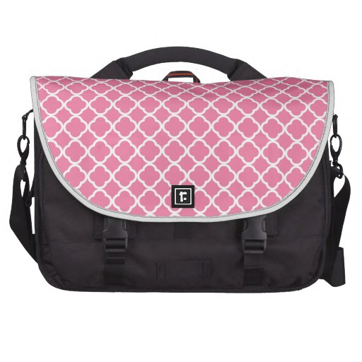 Gerber Daisy Pink And White Quatrefoil. Moroccan Bags For Laptop