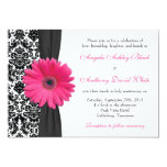 Gerber Daisy Pink Black White Damask Wedding Custom Invite