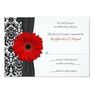 Gerber Daisy Red Black Damask Wedding Reply Card Personalized Invitations
