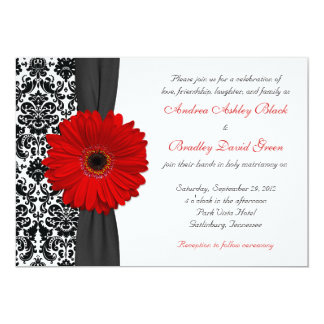 "Gerber Daisy Red Black White Damask Wedding 5"" X 7"" Invitation Card"