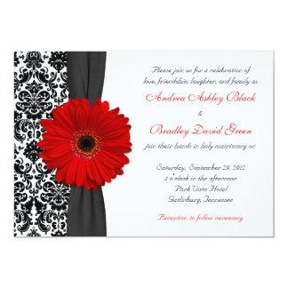 "Gerber Daisy Red Black White Damask Wedding 5"" X 7"" Invitation Card"