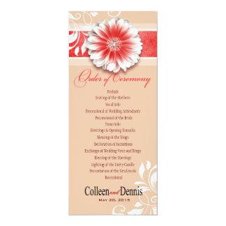 Gerber Daisy Scroll 1 Wedding Program red sand Invites