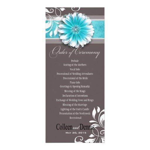 Gerber Daisy Scroll 1 Wedding Program teal Announcement