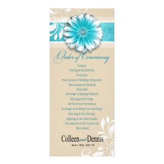 Gerber Daisy Scroll 1 Wedding Program teal Personalized Invite