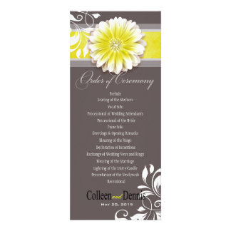 Gerber Daisy Scroll 1 Wedding Program yellow Personalized Invites