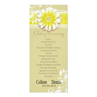 Gerber Daisy Scroll 1 Wedding Program yellow Custom Invitations