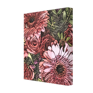 Gerbera and rose bouquet canvas