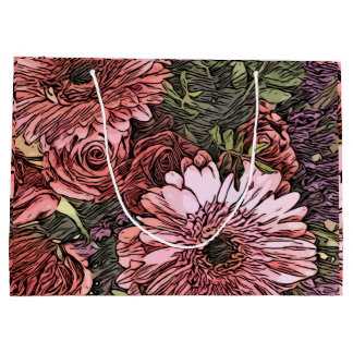 Gerbera and rose bouquet patterned gift bag