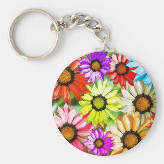 Gerbera colourful flower floral basic round button keychain
