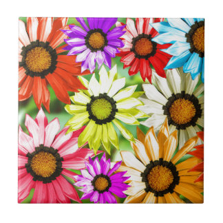 Gerbera colourful flower floral tile