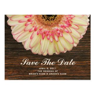 Gerbera Daisy & Barnwood Save The Date Postcard