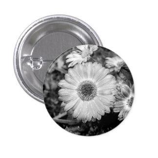 Gerbera Daisy Black & White Photograph 1 Inch Round Button