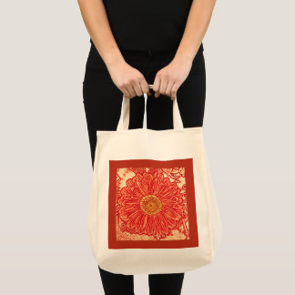 Gerbera Daisy Block Print, Mandarin Orange Tote Bag