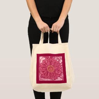 Gerbera Daisy Block Print, Maroon and Pink Tote Bag