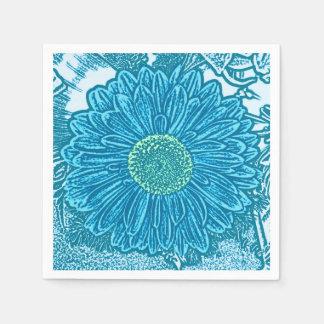Gerbera Daisy Block Print - sea blue Paper Napkin