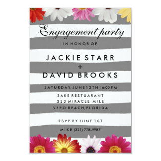 Gerbera Daisy Gray Stripe Engagement Party Invite