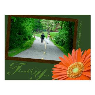 Gerbera Daisy Orange Muted Green Thank You Wedding Postcard