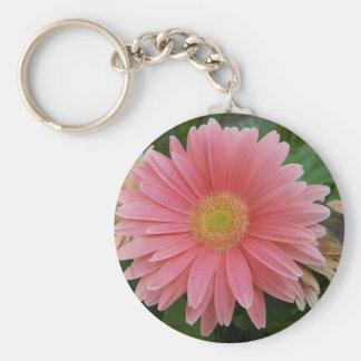 Gerbera Daisy Pink Basic Round Button Keychain