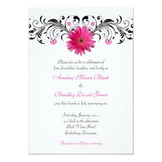 Gerbera Daisy Pink Black Floral Wedding Invitation