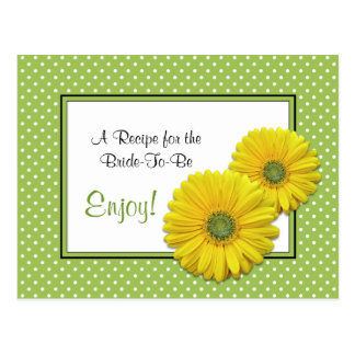 Gerbera Daisy Recipe Card for the Bride to Be Postcard