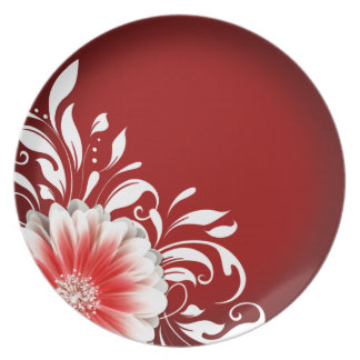 Gerbera Daisy Scroll 1   red burgundy Party Plates