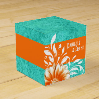 Gerbera Daisy Scroll | orange turquoise Favor Box