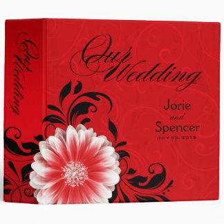 Gerbera Daisy Scroll Wedding Album red black 3 Ring Binders