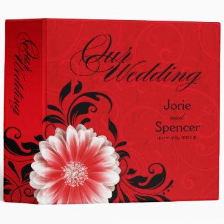 Gerbera Daisy Scroll Wedding Album red black 3 Ring Binders