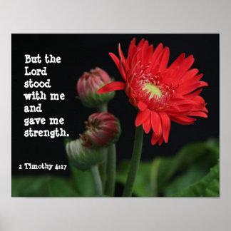 Gerbera Daisy w/ Scripture Verse (Timothy  4:17) Poster