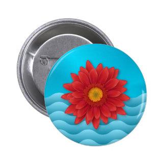 Gerbera Flower digital illustration red Pinback Buttons