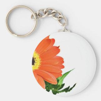 Gerbera On White Background Basic Round Button Keychain