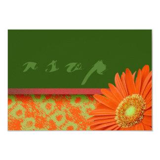 Gerbera Orange Green Script RSVP Cards