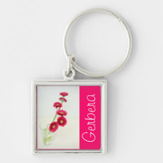 Gerbera red Silver-Colored square keychain